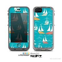The Vector Colored Sailboats Skin for the Apple iPhone 5c LifeProof Case