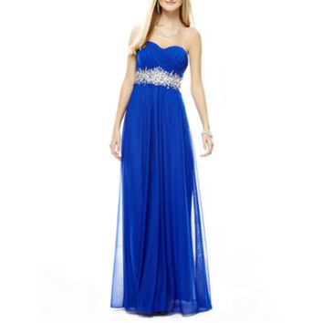 My Michelle® Strapless Embellished Long Slim Dress