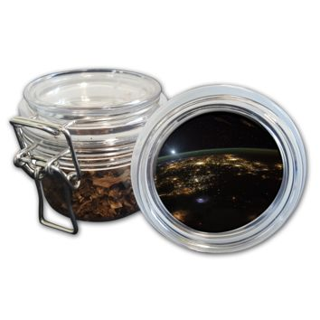 Airtight Stash Jar with Silicone Seal - Earth From Space - Food-Grade Plastic with Locking Wire Top - Smell Proof Hermes Container
