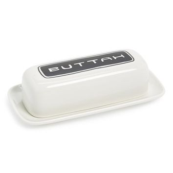 Fishs Eddy 'Brooklynese - Buttah' Ceramic Butter Dish - White