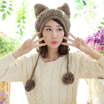 Very Cute Fox Ears Cat Ear New Women Winter Hat 100% Handmade Knitted Beanie Ear Muff Hat Cap