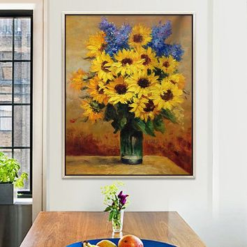 Sunflower oil painting on canvas Original Flower Heavy texture Painting Dinning room Floral Wall Art Pictures for living room Home Decor