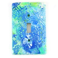 Clay Blue Green Light Switch Cover, Tie Dye, Wall Switch Cover, Unique Light Switch Cover, Wall Decor, Gift, Light Switch Plate, Home Decor