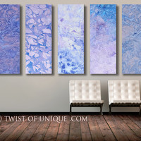 Oversized Modern Painting / CUSTOM 5 Panel (48 Inches x 15 Inches) Huge Abstract Wall Art /Purple, violet, white, blue
