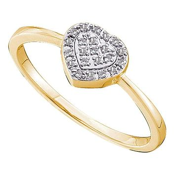 14kt Yellow Gold Women's Round Diamond Slender Delicate Heart Ring 1/12 Cttw - FREE Shipping (US/CAN)