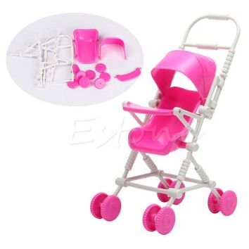 DCCKL72 1pc Top Brand Assembly Baby Stroller Trolley Nursery Furniture Toys For Doll Pink High Quality