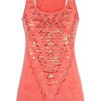 Graphic Print Racerback Tank With Raw Edges - Calypso Coral