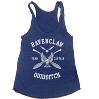 Ravenclaw Quidditch team Captain WHITE print on Tri-blend Tank American Apparel TR308
