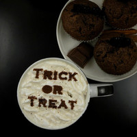 Trick or Treat- coffee stencil, cake stencil, cupcake stencil, Halloween