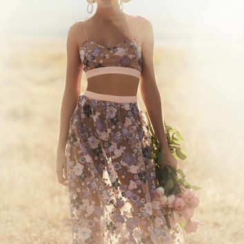 FOR LOVE & LEMONS | Posy Embroidery Maxi Skirt - Lilac Bloom