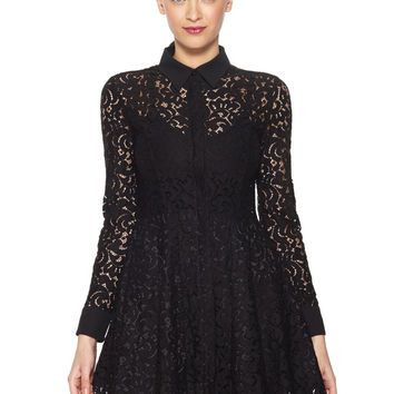 OLIVACEOUS Black Long Sleeve Lace Dress with Pleated Skirt