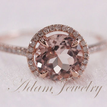 Round 8mm/2.35ct  Morganite Ring/  Halo Engagement Ring/ 14K Rose Gold Pave Diamonds Wedding Ring/ Promise Ring/ Anniversary Ring