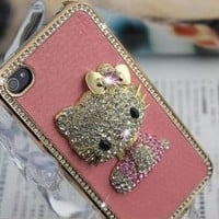 Hello Kitty Luxury Pink leather Rhinestone Crystal Case Cover for iPhone 4 4S