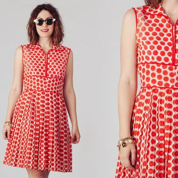 60s Red and White Polka Dot Dress / Zippered Empire Waist Dress / Cute Pleated Dots Dress
