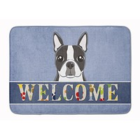 Boston Terrier Welcome Machine Washable Memory Foam Mat BB1389RUG