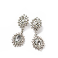 Eleanor Silver Crystal Statement Earrings
