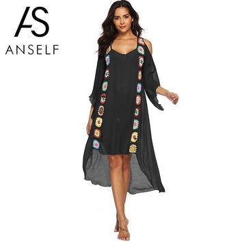 Sexy Summer Dress 2019 Women Loose Beach Dress Flowers Crochet Hollow Out Off Shoulder Flare Sleeve Irregular Cover Ups Ladies