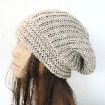 Hand Knit Hat- Womens hat - chunky knit Slouchy Beanie  Slouchy  Hat Winter Accessories knitted beret  beige  wheat  Gift oatmeal