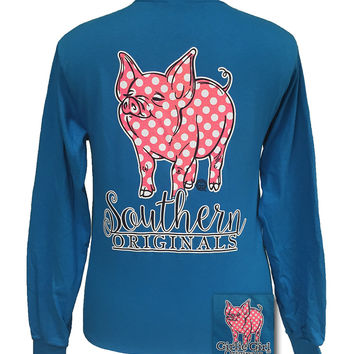 Girlie Girl Originals Southern Polka Dot Happy & Preppy Pig Long Sleeves T Shirt