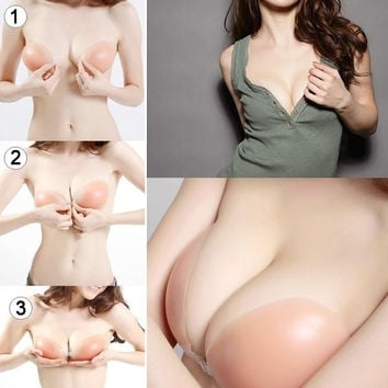 Sexy Backless Silicone Adhesive Stick On Gel Push Up Strapless Invisible Bras_RP = 1932232772