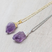 Amethyst Necklace / gold or silver plated raw quartz necklace / 0643