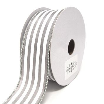Cabana Stripes Satin Wired Ribbon, Silver, 1-1/2-Inch, 10 Yards