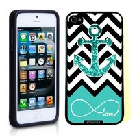 Iphone 5 5S Case Thinshell Case Protective Iphone 5 5S Case Shawnex Infinite Love Teal Glitter Anchor