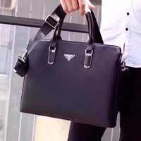 PRADA MEN LEATHER BRIEFCASE BAG INCLINED SHOULDER BAG