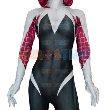3D Print Spider Gwen Stacy Spandex Lycra Zentai Spiderman Costume for Halloween and Cosplay Female Spider Suit Anti-Venom Gwen