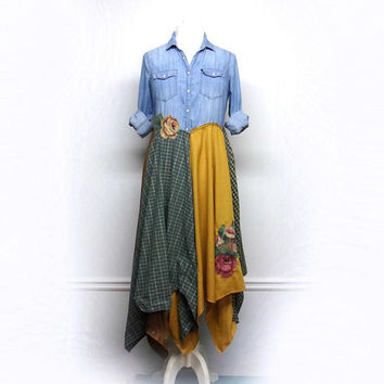 Long Denim Duster,  Long Hippie Jacket, Long Boho Duster, Long Bohemian Jacket, Bohemian Clothing, Upcycled Clothing