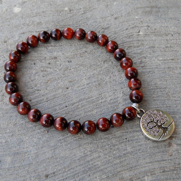Tree Of Life - Genuine Red Tiger's Eye Gemstone Mala Bracelet