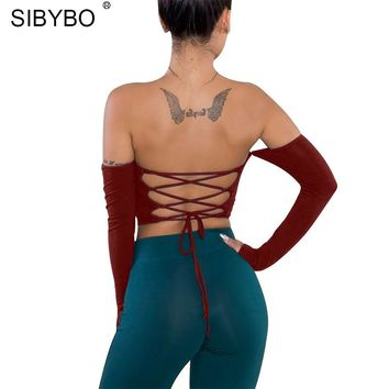 Sibybo Backless Bandage Sexy Women Tops Long Sleeve Off Shoulder Slash Neck Short Women Tshirt Autumn Tie-up Slim T-shirt Women