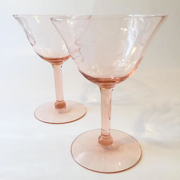 Pink Depression Glass Coupes, Pair of Etched Pink Crystal Champagne Cocktail Glasses