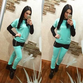 Blue Color Block Zipper 2-in-1 Casual Long Jumpsuit