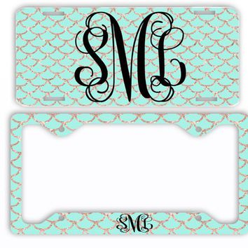Mint Gold Mermaid License Plate Car Tag Monogram Frame Personalized Set Custom Initials Car Coasters NOT ACTUAL GLITTER Mermaid Scales