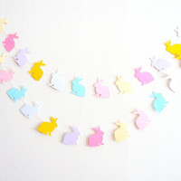 Pastel Bunny Rabbit Garland - home decor, easter decor, easter bunting, bunny garland, easter bunny garland, easter decoration