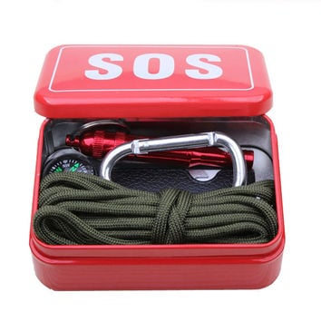 Outdoor equipment with paracord  emergency  survival box SOS Camping Hiking  tools Hiking saw/fire tools,Camping Hiking saw/fire