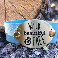 Gold, Bracelet, Leather, Blue, Cuff, Boho, Stamped, Quote, Wild and Free, Wanderlust, Free Spirit, Gypsy, Hippie, Bohemian, Statement, Wild