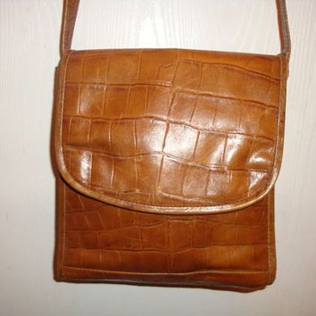 vintage SORPRESA alligator texture COGNAC brown leather hobo messenger saddle bAG Purse handbag india