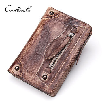 Men Leather Vintage Handcrafts Wallet [9026453123]