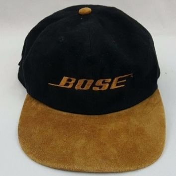 Rare Vintage Bose Speakers Suede Leather Brim Baseball Cap Dad Strapback Hat