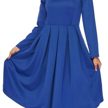 Royal Blue Pocket Style High Neck Long Sleeve Skater Dress