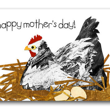 "For the Mother-To-Be - Mother's Day - Cute Greeting Card - Mother Hen sitting on her eggs - 5""x7"" Collage Art Card (CMDAY201403)"
