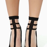 Hard Line Sheer Socks - Black