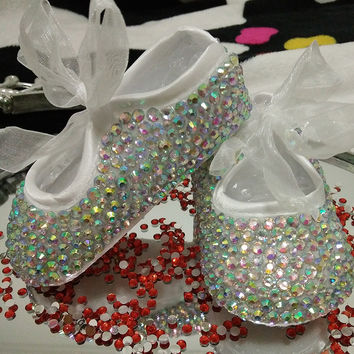 Baby Girl shoes  /handmade Bling diamond shoes with rhinestones