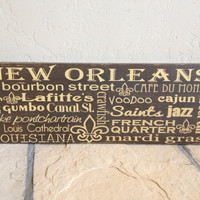 Personalized Wooden Distressed New Orleans City Sign 12x30""
