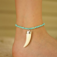 Turquoise Tooth Anklet with clasp by NativeLivingJewelry on Etsy