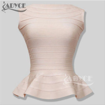 Brand new top quality 2016 peplum hemline essentials ruffles long style summer bandage TOP lady's vest gilet camiseta 7 colors