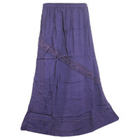 Mogulinterior Womens Maxi Skirt Purple Stonewashed vintage Long Hippie Gypsy Peasant Skirts
