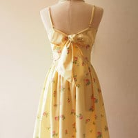 Yellow Summer Dress Cotton Vintage Pink Rose Floral Dress Low Back Backless Dress Back Bow Homecoming Party Dress Bridesmaid Dress